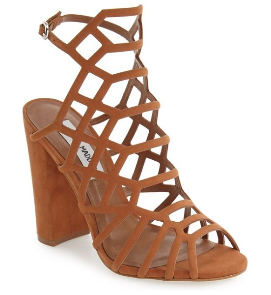 STEVE MADDEN skales cage sandal in tan nubuck - A dramatic strappy cage of supersoft nubuck leather...