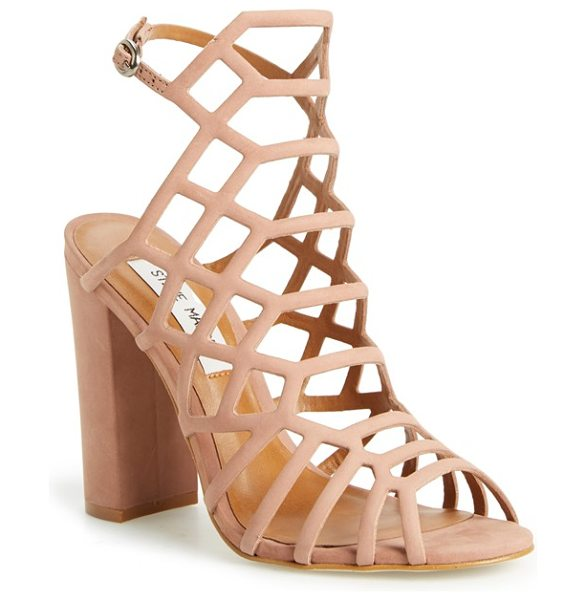 Steve Madden skales cage sandal in dusty pink - A dramatic strappy cage of supersoft nubuck leather...