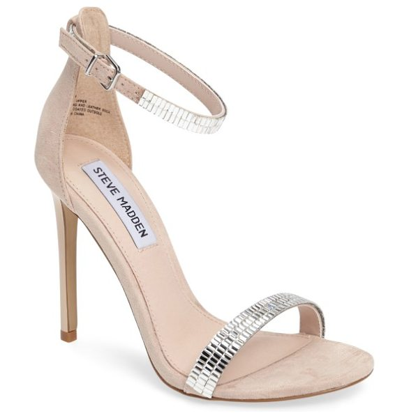 STEVE MADDEN skye sandal in blush - Crystal embellishments at the ankle strap elevate a...