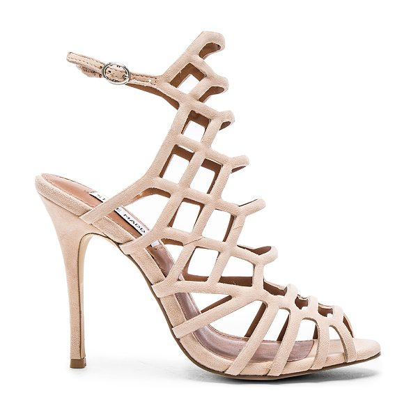 Steve Madden Slithur heel in blush - Suede upper with man made sole. Caged cut-out detail....