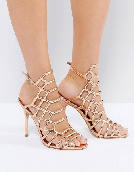 "Steve Madden Slithur Rose Gold Caged Heeled Sandals in gold - """"Sandals by Steve Madden, Metallic upper, Ankle-strap..."