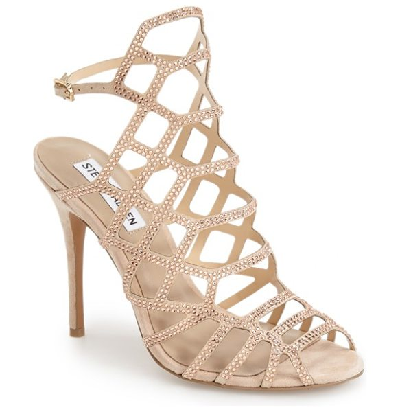 Steve Madden slithur sandal in blush multi suede - Tiny, gleaming studs illuminate a breathtaking cage...
