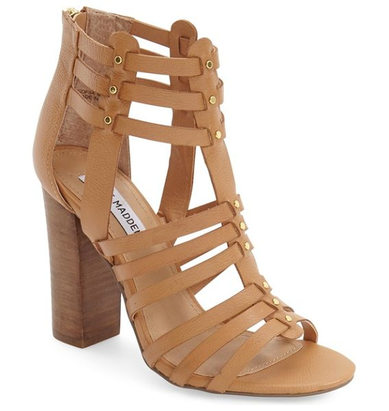 Steve Madden sofiia sandal in natural leather - Pinpoint studs highlight the huarache-inspired straps of...