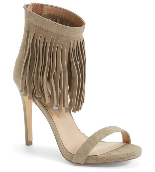 Steve Madden staarz ankle fringe sandal in taupe suede - Sweeping fringe twists and turns with every step on an...