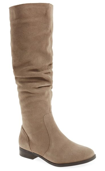 Steve Madden steve maddon beacon slouchy knee-high boot in taupe suede - A perfectly slouchy shaft furthers the soft, relaxed...