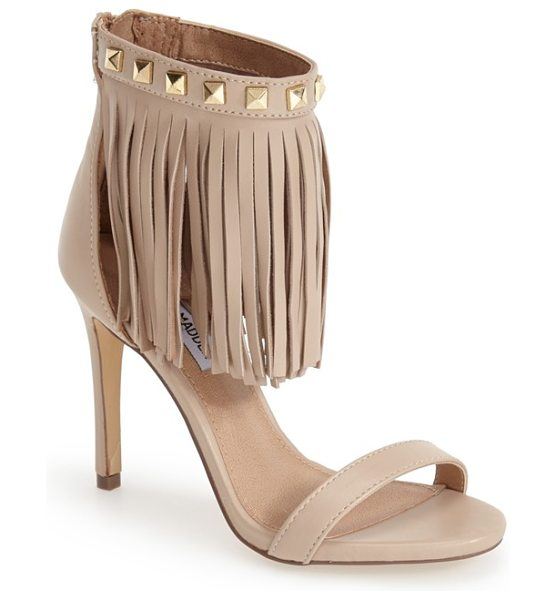 Steve Madden studded fringe sandal in blush leather - On-trend fringe adds sweeping movement to a blush-hued...