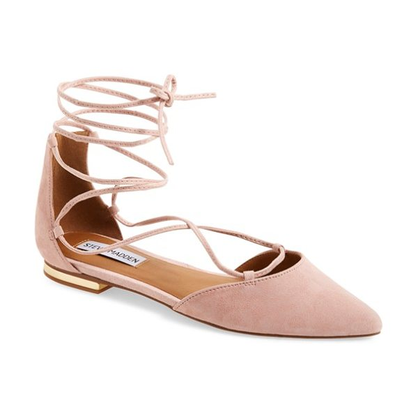 Steve Madden sunshine lace-up flat in light pink - Gleaming hardware at the heel elevates a streamlined...