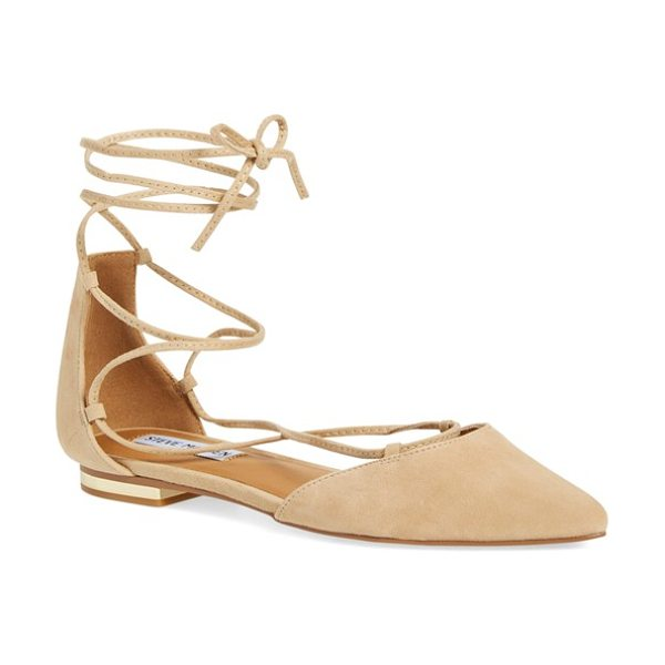 Steve Madden sunshine lace-up flat in sand suede - Gleaming hardware at the heel elevates a streamlined...