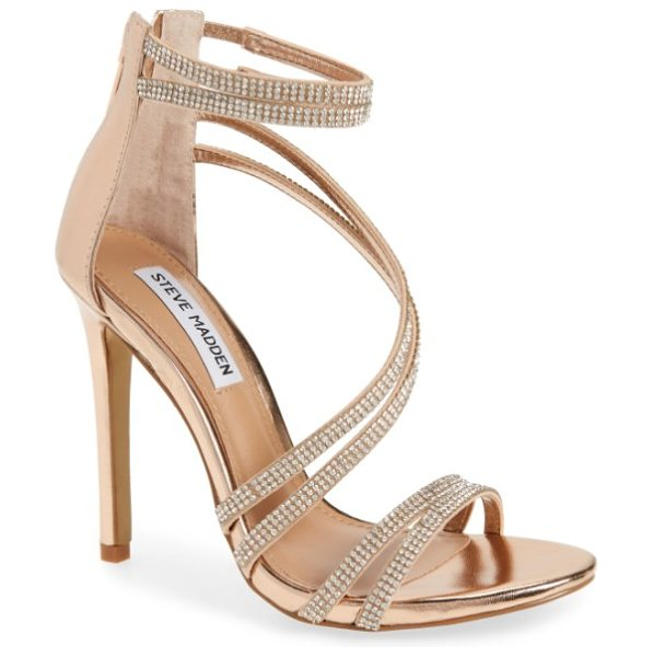 Steve Madden sweetest embellished sandal in rose gold - Sparkling crystals embellish the slim, swooping straps...