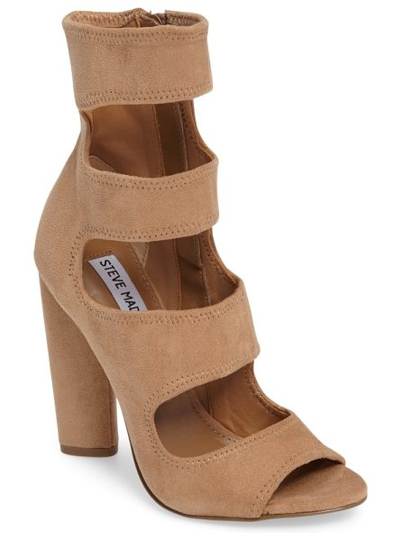 Steve Madden tawnie cage sandal in camel - Deeply carved cutouts tracing the elongated vamp...