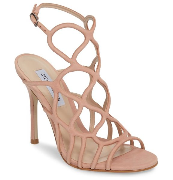 STEVE MADDEN teagan sandal in blush nubuck leather - A curvy webbed upper imparts a funky geometry to this...