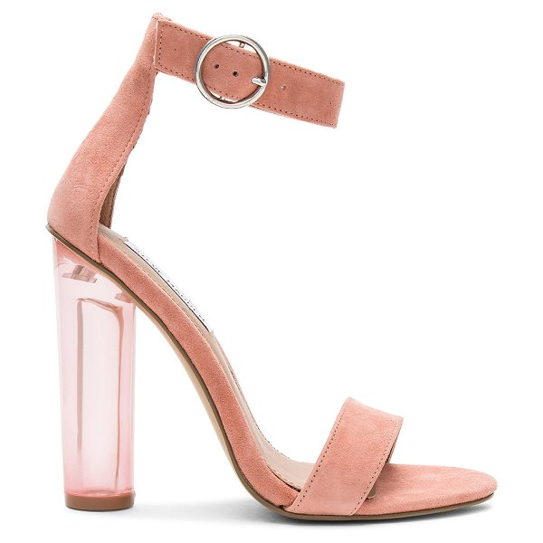 "STEVE MADDEN Teaser Heel - ""Suede upper with man made sole. Ankle strap with buckle..."