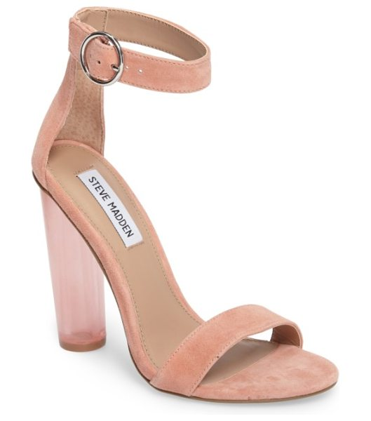 Steve Madden teaser sandal in coral suede - A transparent, cylindrical heel takes this simply styled...