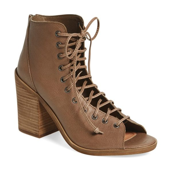 STEVE MADDEN tempting lace-up bootie in stone leather - A blocky stacked heel lifts a trend-right bootie shaped...