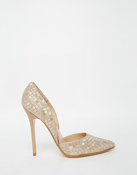 STEVE MADDEN Varcity Gold Sequin Heeled Pumps - Shoes by Steve Madden, Sequin embellished fabric, Point...