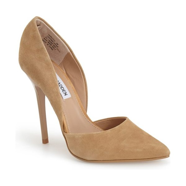 Steve Madden varcityy pointy toe pump in sand suede - The curvy lines of this alluring d'Orsay pump are...