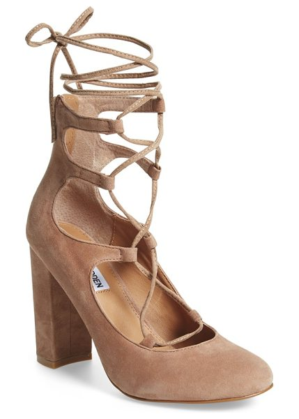 Steve Madden voxx ghillie pump in sand suede - Ghillie straps provide a trend-savvy upgrade for a lofty...