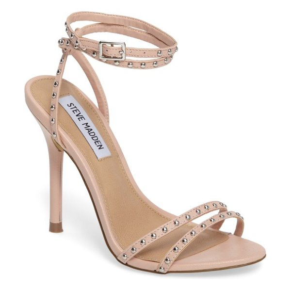 Steve Madden wish studded strappy sandal in blush leather - Domed studs punctuate the slender straps bridging the...