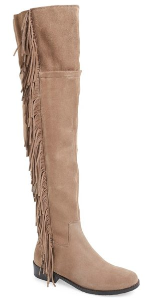 STEVE MADDEN wowwzer over the knee boot - Suede fringe cascades down the side of a chic...