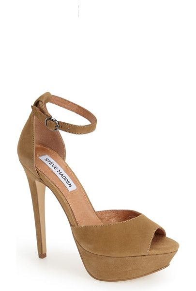 Steve Madden yevone ankle strap sandal in camel suede - Stand tall in this lofty suede sandal in a stunning...