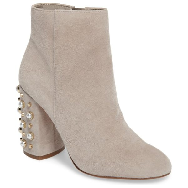 47edff80aab Steve Madden yvette embellished bootie in taupe suede - Mounted pearly  beads and blunted cone studs