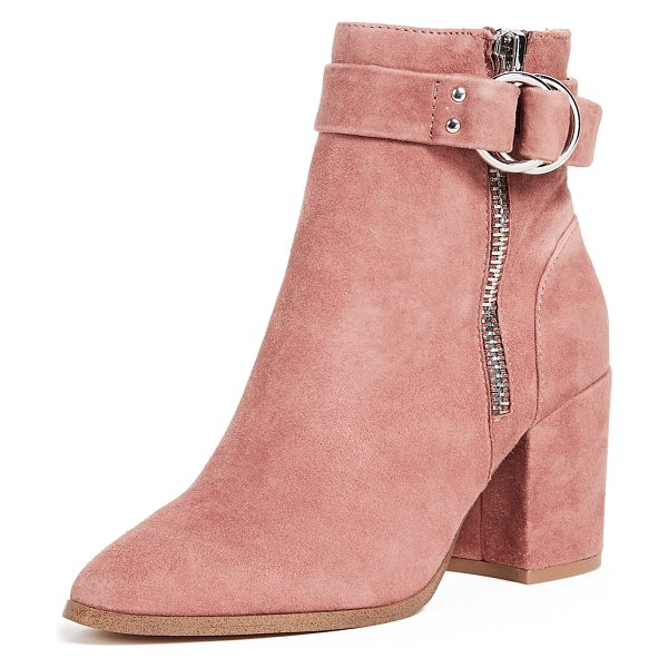 Steven block heel ankle boots in pink - A covered, block heel adds a sturdy profile to these...