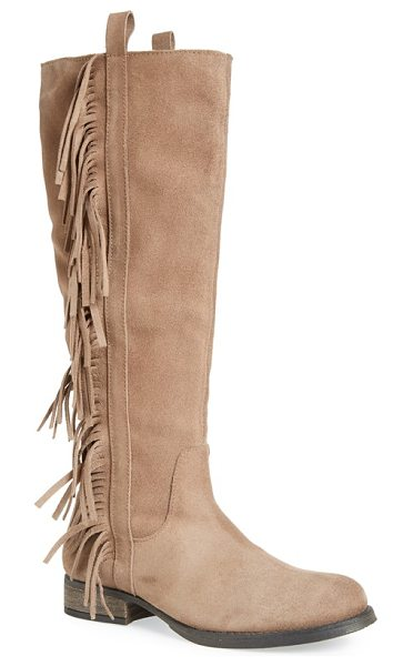 STEVEN BY STEVE MADDEN dallton tall fringe boot - An alluring knee-high boot composed in soft suede is...