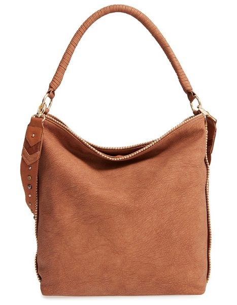 Steven by Steve Madden j catie faux leather hobo in tan - Gilded beads set off the slightly slouchy silhouette of...
