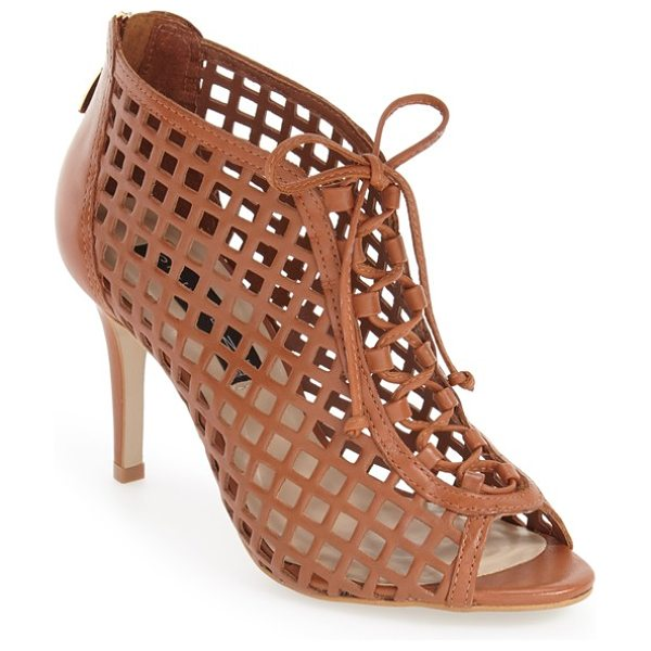 Steven by Steve Madden klio cage sandal in cognac leather - Gorgeous panels of perforated-leather latticework are...