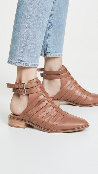 Steven charlot ankle strap booties in cognac