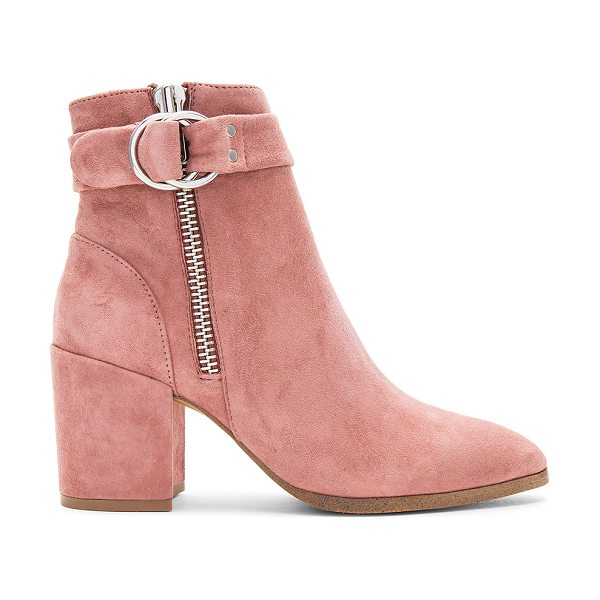 "Steven Johannah Bootie in rose - ""Suede upper with man made sole. Double side zip..."