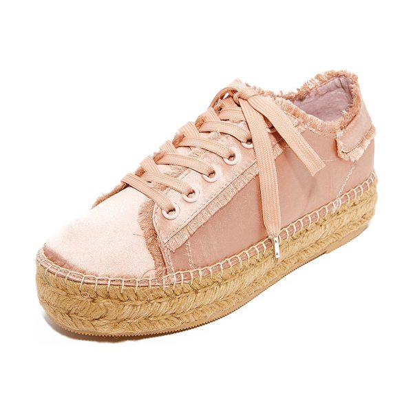 Steven pace espadrille sneakers in blush - These satin Steven espadrilles are fashioned with...