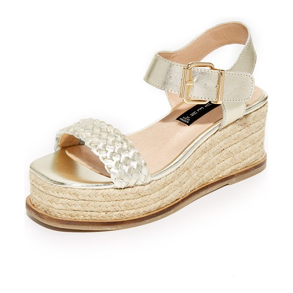 Steven sabble flatform sandals in gold - Bands of smooth and woven metallic leather compose these...