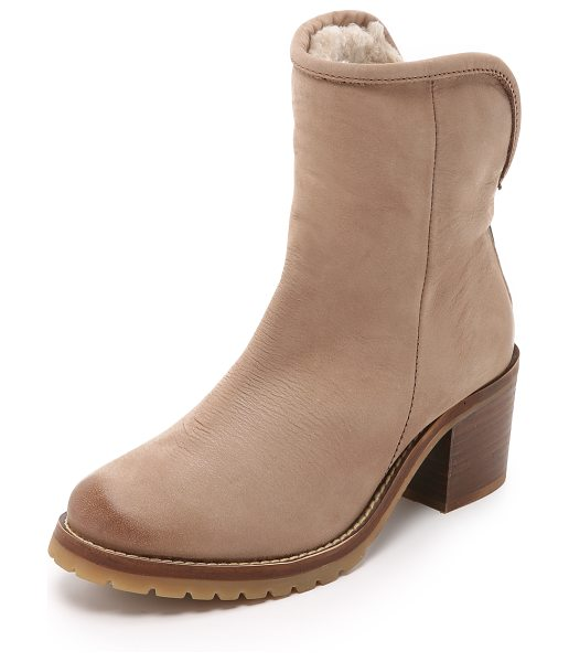 Steven Shearling lined booties in taupe - Shearling lining brings extra warmth to these Steven...