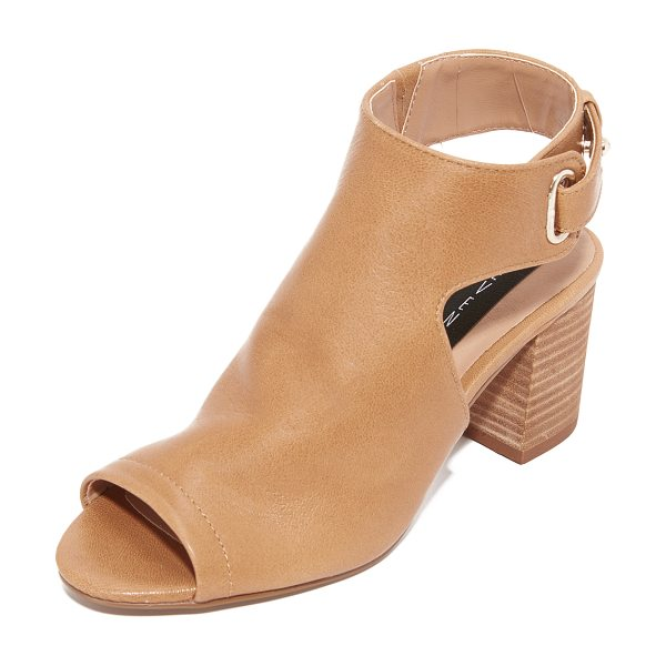 Steven venuz peep toe sandals in tan - Bootie-inspired Steven sandals, styled with an open toe...