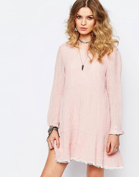 Stevie May Dusky Ends Pink Smock Dress in pink - Dress by Stevie May, Textured cotton linen mix, Crew...