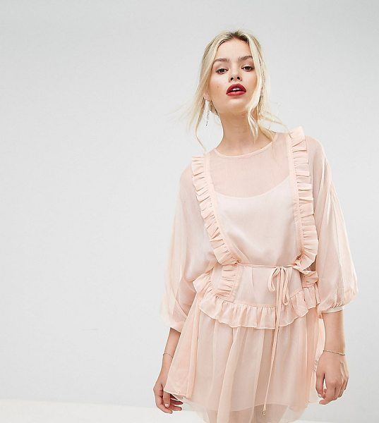 """Stevie May Whistlers Exclusive Frill Mini Dress in pink - """"""""Dress by Stevie May, Semi-sheer woven fabric, Fully..."""