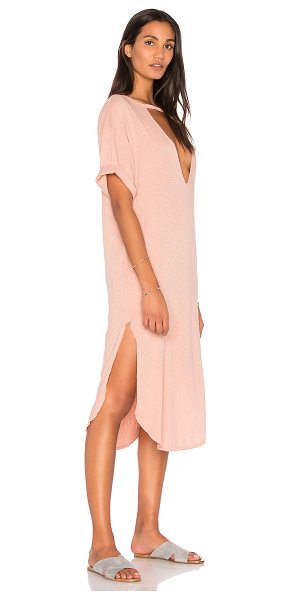 Stillwater Lana Rose Tee Dress in blush - 100% cotton. Unlined. Burnout fabric. Neckline and back...