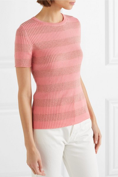 Stine Goya pablo striped ribbed cotton-blend top in pink - Stine Goya's Pre-Fall '18 collection explores the world...