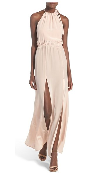 STONE COLD FOX onyx silk halter gown in dusty rose - Lustrous silk in the softest shade of dusty rose ensures...