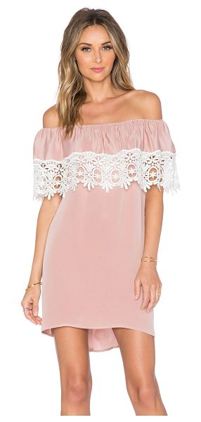 STONE COLD FOX Bonita short dress in blush - Self: 100% silkLace trim: 100% rayon. Dry clean only....