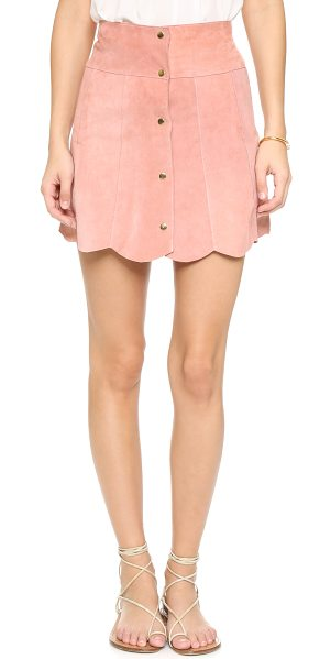Stoned Immaculate Marsha suede petal skirt in rose - A scalloped hem lends a sweet finish to this suede...