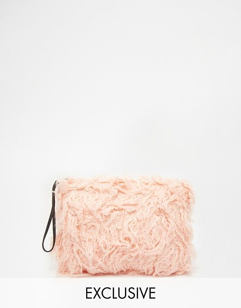 STORY OF LOLA Faux fur clutch in pink - Clutch bag by Story of Lola Fluffy faux-fur Fully lined...