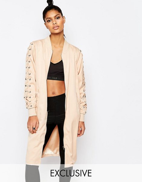 Story Of Lola Longline bomber jacket with lace up detail in nude - Jacket by Story of Lola Lined stretch cotton Baseball...