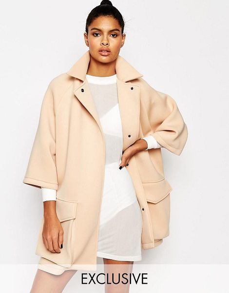 Story Of Lola Neoprene wrap front short duster jacket in nude - Jacket by Story of Lola Soft-touch scuba fabric Notch...