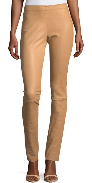 "Stouls Jo Skinny Lambskin Leather Leggings in tan - STOULS ""Jo"" leggings in stretch lambskin leather with a..."