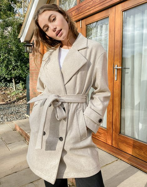 Stradivarius double-breasted coat in beige in beige