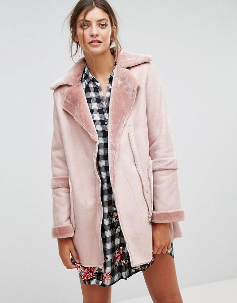 """Stradivarius Faux Shearling Jacket in pink - """"""""Jacket by Stradivarius, Soft-touch faux suede,..."""