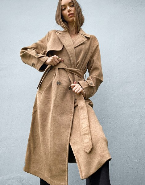Stradivarius long double breasted belted coat in camel-brown in brown
