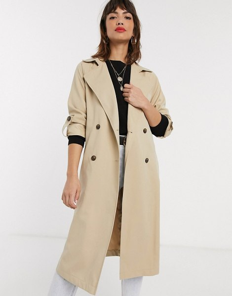 Stradivarius long flowy trenchcoat in beige in beige